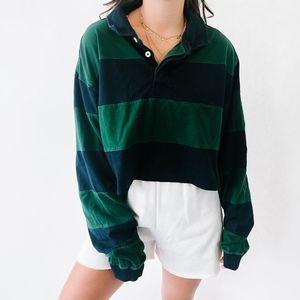 Vintage Oversized Striped Polo 3XL Green